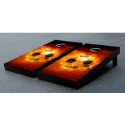 Victory Tailgate Flaming Soccer Ball Cornhole Bag Toss Game Set