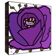Green Leaf Art Big Flower Wall Art on Wood in Purple; 12'' H x 12'' W