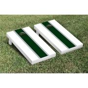 Victory Tailgate Striped Matching Version 1 Cornhole Boards Game Set; White / Hunter Green