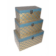 Cheungs 3 Piece Clover Trunk Set; Blue and Gold