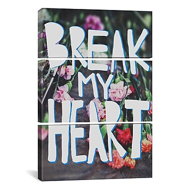 iCanvas Leah Flores Break My Heart 3 Piece on Wrapped Canvas Set; 60'' H x 40'' W x 1.5'' D
