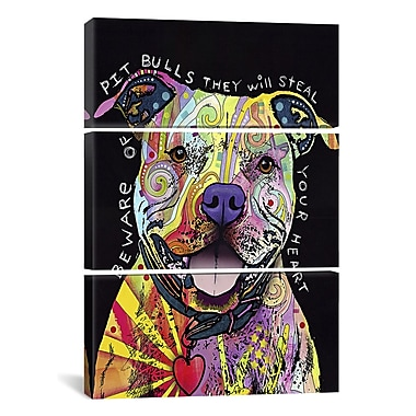 iCanvas Dean Russo Beware of Pit Bulls 3 Piece Graphic Art on Wrapped Canvas Set