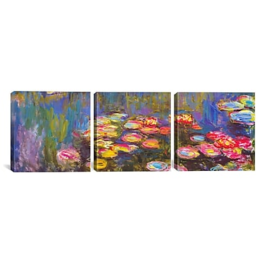 iCanvas Water Lilies 3 Piece by Claude Monet Painting Print on Wrapped Canvas Set