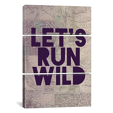 iCanvas Leah Flores Let's Run Wild 3 Piece Graphic Art on Wrapped Canvas Set