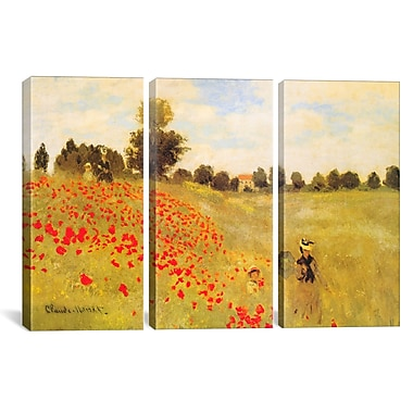 iCanvas Field of Poppies by Claude Monet 3 Piece Painting Print on Wrapped Canvas Set