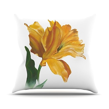 KESS InHouse Yellow Tulip Throw Pillow; 18'' H x 18'' W