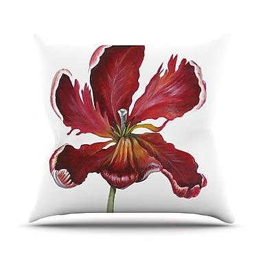 KESS InHouse Open Tulip Throw Pillow; 18'' H x 18'' W