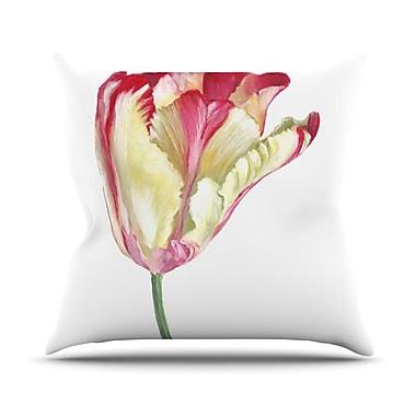 KESS InHouse Red Tip Tulip Throw Pillow; 20'' H x 20'' W