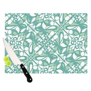 KESS InHouse Swirling Tiles Teal Cutting Board; 8.25'' H x 11.5'' W x 0.25'' D