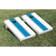 Victory Tailgate Striped Matching Version 1 Cornhole Boards Game Set; White / Aqua Blue