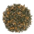 National Tree Co. Pre-Lit Glittery Bristle Pine Kissing Ball w/50 Battery-Operated White LED Lights
