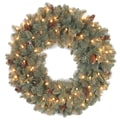 National Tree Co. Oakridge Pre-Lit Feel Real Wreath with Clear Lights; 30'' H x 30'' W x 6'' D