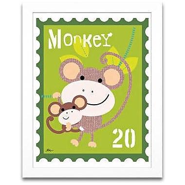 Timeless Frames Monkey Animal Stamp Framed Graphic Art