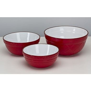 Omniware 3 Piece Mixing Bowl Set; Red
