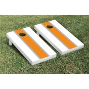 Victory Tailgate Striped Matching Version 1 Cornhole Boards Game Set; White / Orange