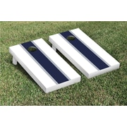 Victory Tailgate Striped Matching Version 1 Cornhole Boards Game Set; White / Navy Blue
