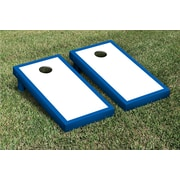 Victory Tailgate Border Matching Version 2 Cornhole Boards Game Set; White / Royal Blue