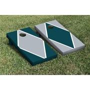 Victory Tailgate Diamond Alternating Cornhole Boards Game Set; Gray / Midnight Green