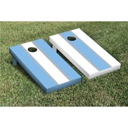 Victory Tailgate Striped Alternating Cornhole Boards Game Set; White / Light Blue