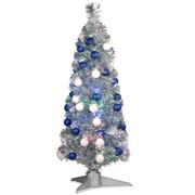 Fiber Optics 3'' Silver Firework Artificial Christmas Tree w/ LED Multi Light w/ Stand