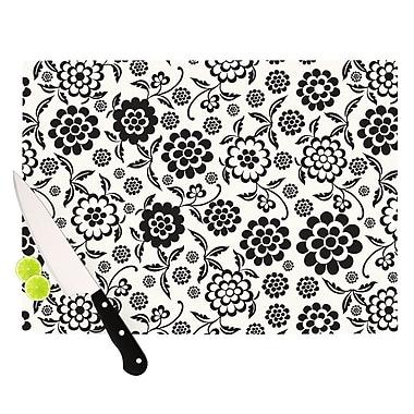 KESS InHouse Cherry Floral White Cutting Board; 11.5'' H x 15.75'' W x 0.15'' D