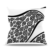 KESS InHouse Bird In Disguise White Pattern Polyester Throw Pillow; 18'' H x 18'' W