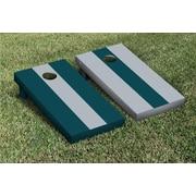 Victory Tailgate Striped Alternating No Stripe Cornhole Boards Game Set; Gray / Midnight Green