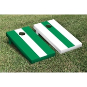 Victory Tailgate Striped Alternating No Stripe Cornhole Boards Game Set; White / Light Green