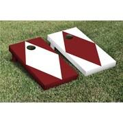 Victory Tailgate Diamond Alternating No Stripe Cornhole Boards Game Set; White / Maroon