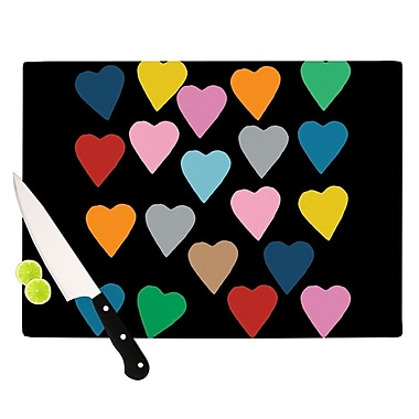 KESS InHouse Hearts Colour On Black Cutting Board; 8.25'' H x 11.5'' W x 0.25'' D