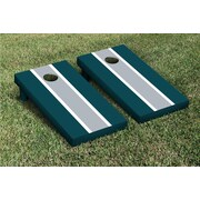 Victory Tailgate Striped Matching Version 2 Cornhole Boards Game Set; Gray / Midnight Green