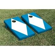 Victory Tailgate Diamond Matching No Stripe Version 2 Cornhole Boards Game Set; White / Aqua Blue