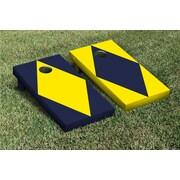 Victory Tailgate Diamond Alternating No Stripe Cornhole Boards Game Set; Bright Yellow / Navy Blue
