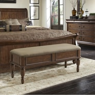 Liberty Furniture Rustic Traditions Upholstered Bedroom Bench; Cherry