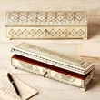 Twos Company 2 Piece Long Flower Design Bone Inlay Box Set with Lock and Key