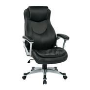 Office Star Work Smart Executive Chair with Padded Arms; Black/Silver