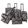 American Flyer Silver Stripes 5 Piece Luggage Set