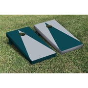 Victory Tailgate Triangle Alternating No Stripe Cornhole Boards Game Set; Gray / Midnight Green
