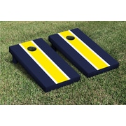Victory Tailgate Striped Matching Version 2 Cornhole Boards Game Set; Bright Yellow / Navy Blue