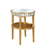 Elegant Lighting Florentine End Table; Gold & Clear Mirror