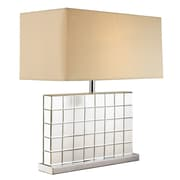 TransGlobe Lighting Tiled Mirror 26'' Table Lamp with Rectangular Shade
