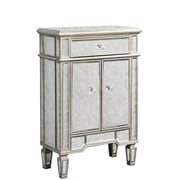 Elegant Lighting Florentine 1 Drawer 2 Door Cabinet; Silver & Antique Mirror