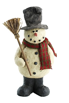 Craft Outlet Top-Hat Snowman w/ Broom Collectible