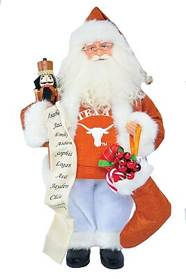Santa's Workshop NCAA 15'' Santa with Nutcracker; Texas Longhorn