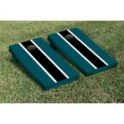 Victory Tailgate Striped Matching Version 1 Cornhole Boards Game Set; Midnight Green / Black