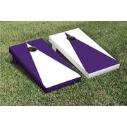 Victory Tailgate Triangle Alternating No Stripe Cornhole Boards Game Set; White / Purple