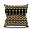 KESS InHouse Deco Angles Gold Black Polyester Throw Pillow; 26'' H x 26'' W
