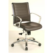 Eurotech Seating Europa Mid-Back Leather Chair with Arms; Brown