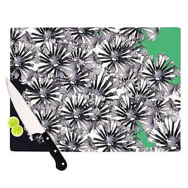KESS InHouse Inky Flowers on Green Cutting Board; 8.25'' H x 11.5'' W x 0.25'' D