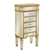 Elegant Lighting Florentine Jewelry Armoire; Gold & Antique Mirror